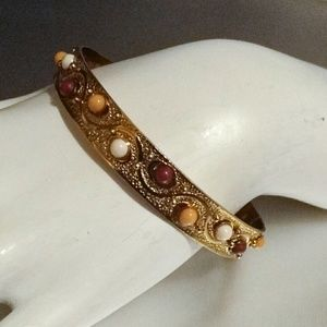 Multi Color Cabochon Gold Bangle Bracelet